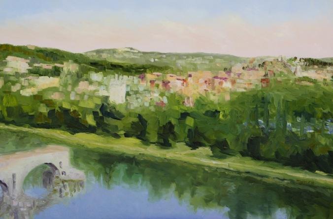 work-in-progress 2 Villeneuve lez Avignon France 24 x 36 inch oil on canvas by Terrill Welch 2014_07_07 021