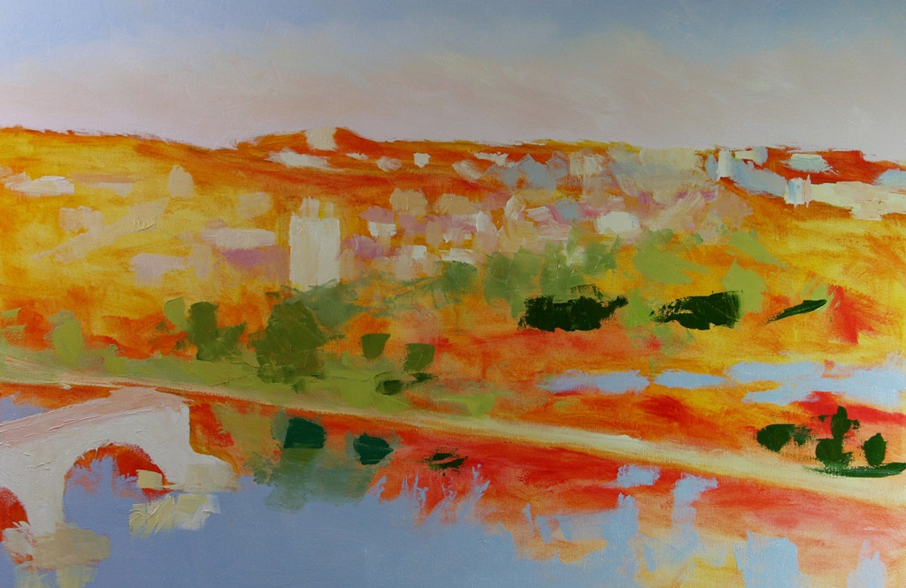 work-in-progress Villeneuve lez Avignon France 24 x 36 inch oil on canvas by Terrill Welch 2014_07_07 010