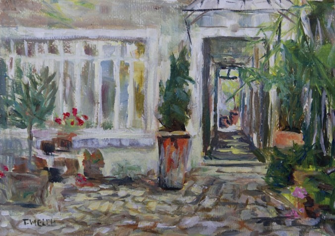 Double courtyard Rue Rodier Paris France 25 x 35 cm plein air acrylic painting sketch by Terrill Welch 2014_06_17 080