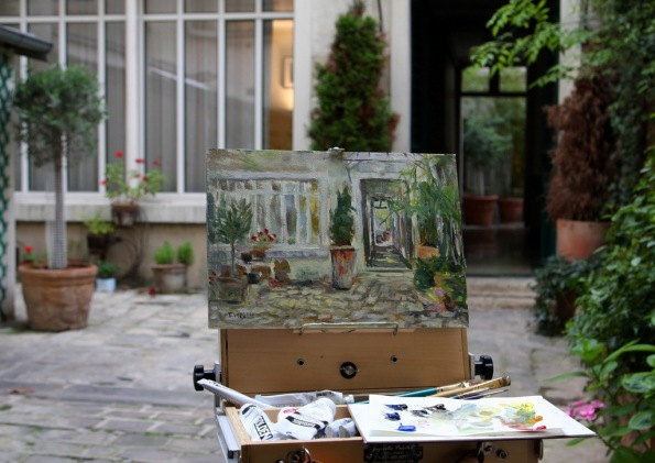 plein air painting of double courtyard Rue Rodier Paris France by Terrill Welch 2014_06_17 086