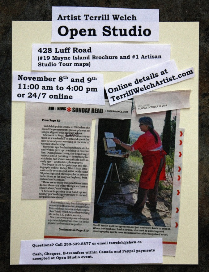 Artist Terrill Welch Open Studio event November 8th and 9th 2014 Poster