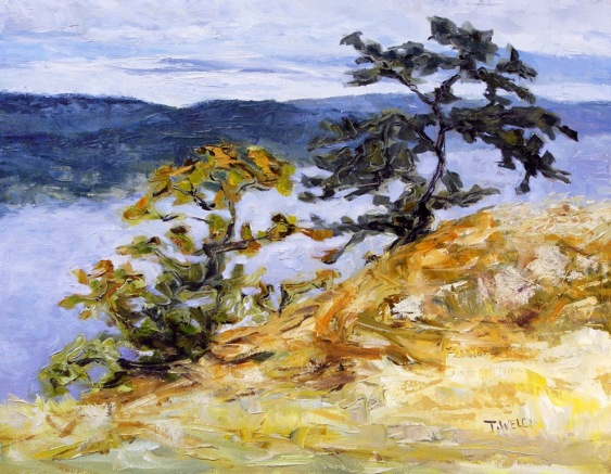 Garry Oaks on Brown Ridge 14 x 18 inch oil on canvas contemporary Canadian landscape art by Terrill Welch 2014_09_15 025