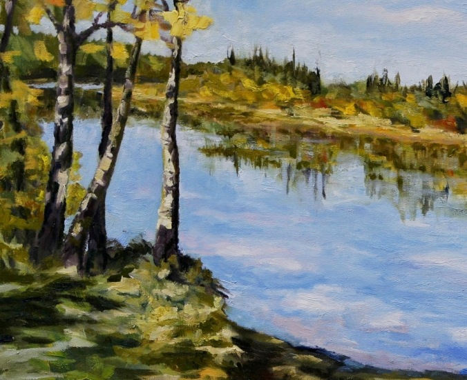 detail 1 Stuart River kicking leaves 24 x 36 inch oil on canvas by Canadian landscape painter Terrill Welch 2014_11_26 005