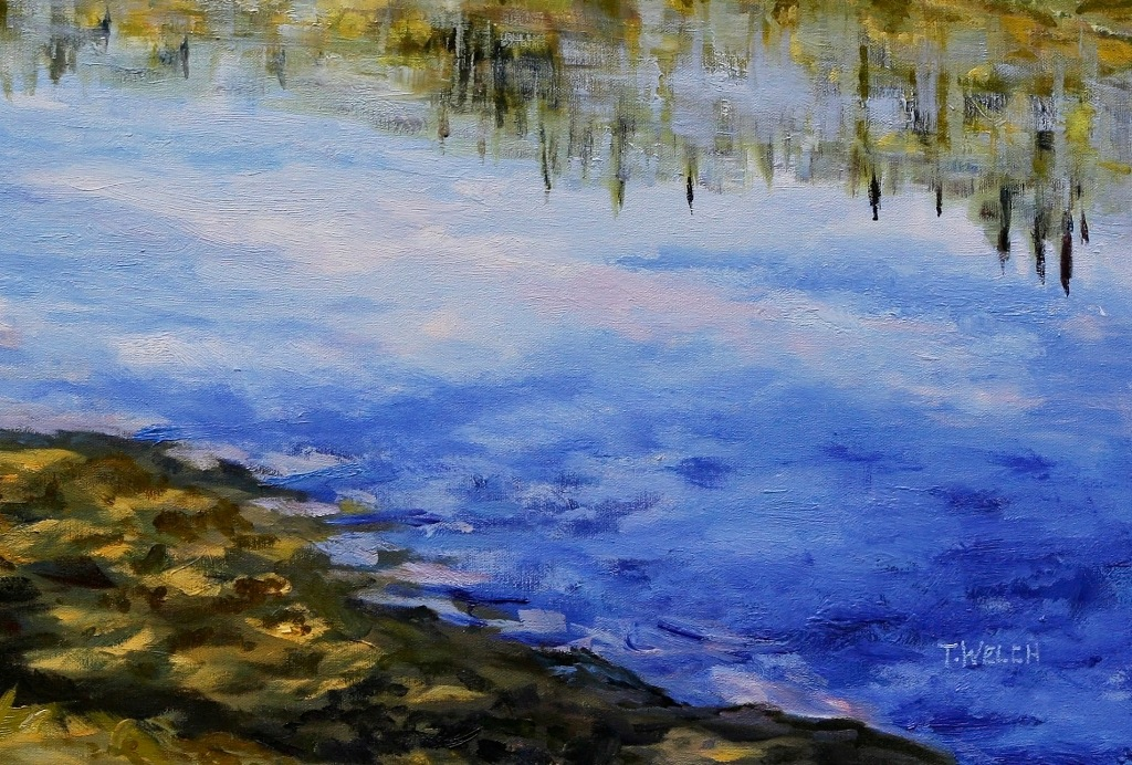 detail 2 Stuart River kicking leaves 24 x 36 inch oil on canvas by Canadian landscape painterTerrill Welch 2014_11_26 005