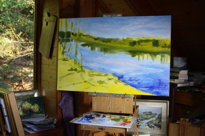 Stuart River Kicking Leanves in progress 2 24 x 36 inch oil on canvas by Terrill Welch 2014_11_23 007