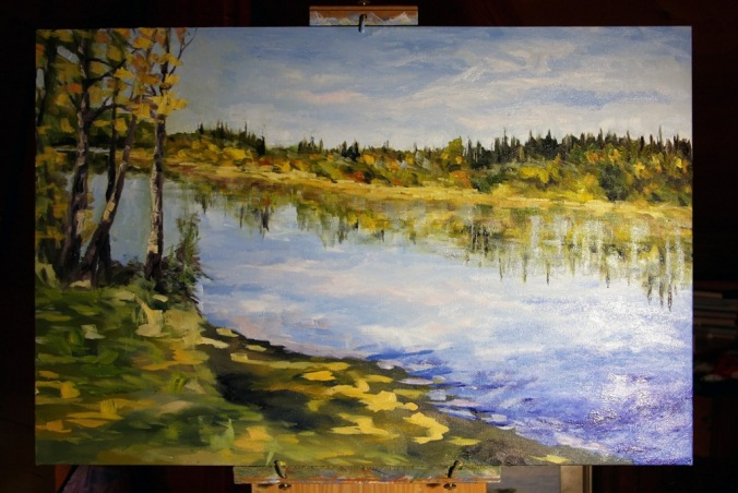 Stuart River kicking leave in progress 2 24 x 36 inch oil on canvas by Terrill Welch 2014_11_24 077