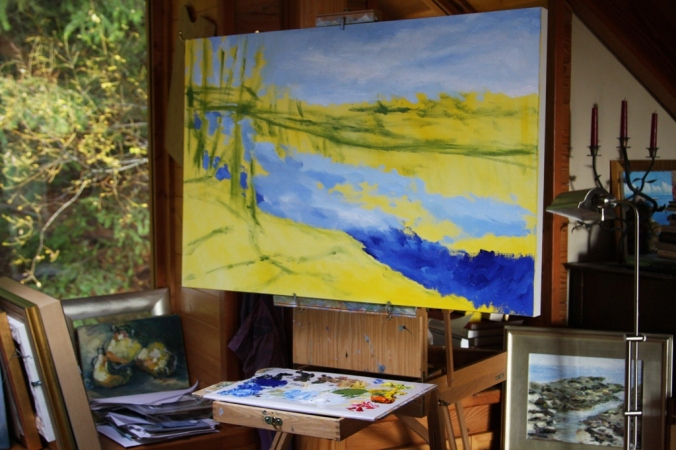 Stuart River Kicking leaves in progress 2 24 x 36 inch oil on canvas by Terrill Welch 2014_11_23 001