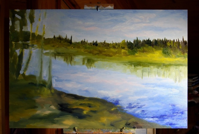 Stuart River kicking leaves in progress 24 x 36 inch oil on canvas by Terrill Welch 2014_11_23 012