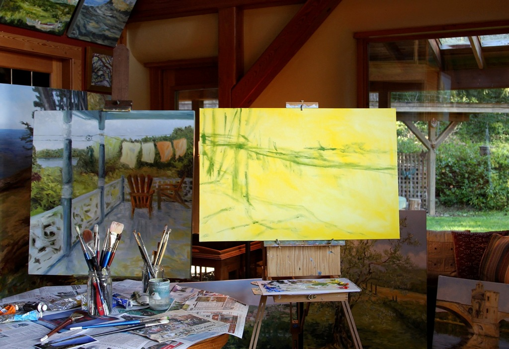 the beginning of Stuart River Kicking Leaves by Canadian landscape painter Terrill Welch 2014_11_22 043