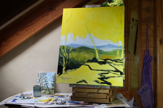 work in progress 1 Trail along the Ridge 30 x 24 inch oil on canvas by Terrill Welch 2014_10_21 090
