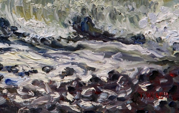 detail Sea and Stones French Beach 12 x 16 inch walnut oil on wood with 1.5 inch cradle by Terrill Welch 2015_02_01 067
