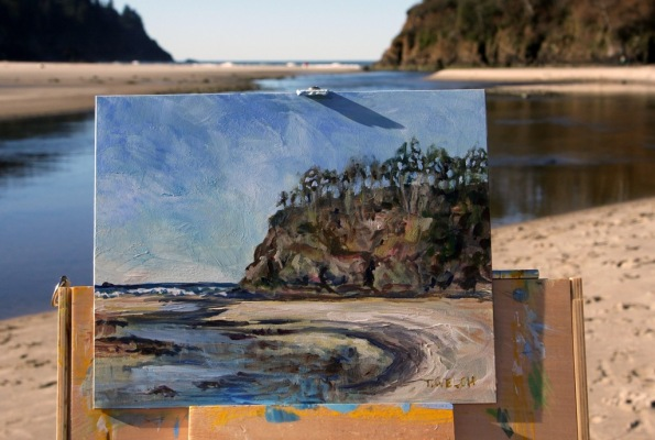 morning plein air painting at Neskowin Oregon by Terrill Welch 2015_02_22 015