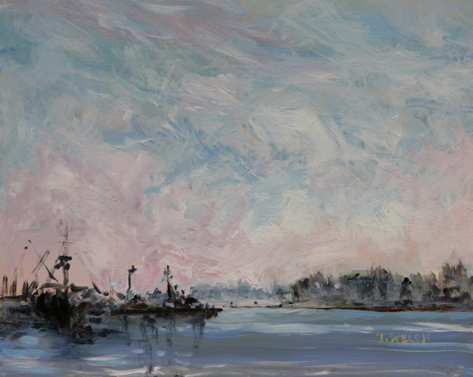 Steveston morning fog 8 x 10 acrylic painting sketch on gessoboard by Terrill Welch 2015_02_01 051