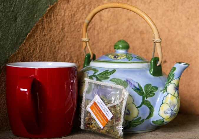 Tea by wood stove in the outdoor courtyard by Terrill Welch 2015_02_01 004