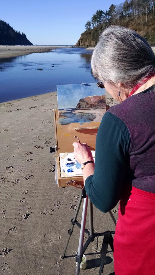 Terrill Welch painting at Neskowin Oregon by Penny Lulich February 22 2015