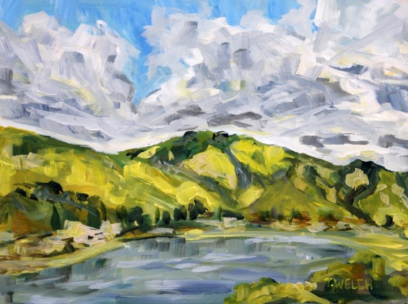 big clouds over the green Fremont Hills in California 9 x 12 inch acrylic plein air sketch on gessobord by Terrill Welch 2015_02_27 133