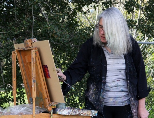 Lena Levin plein air painting in Quarry Lakes Regional Park by Terrill Welch 2015_02_27 069