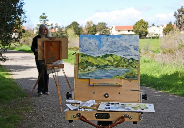 Plein air painting of Fremont hills in Quarry Lakes Regiona Park with Lena Levin by Terrill Welch 2015_02_27 078