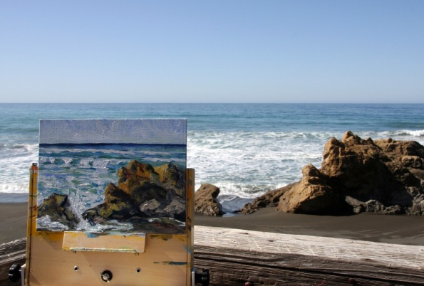 plein air painting on beach at Howard Creek Ranch by Terrill Welch 2015_03_04 907