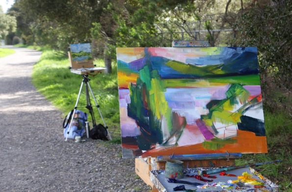 works in progess plein air painting in Quarry Lakes Regional Park Fremont California with Lena Levin by Terrill Welch 2015_02_27 063