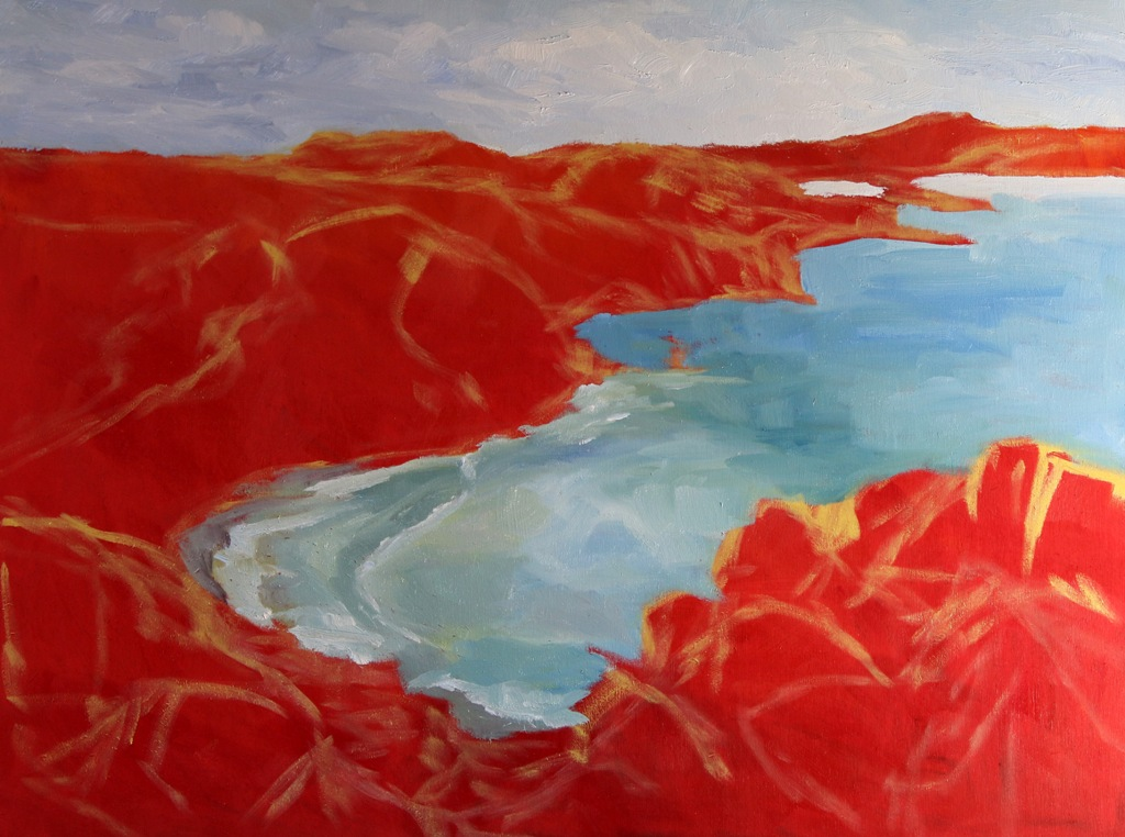 2 beginning to block in Early Spring Muir Beach Overlook California 18 x 24 oil on wood with cradleby Terrill Welch 2015_04_26 010