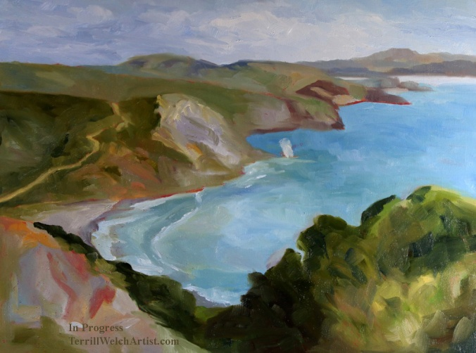 3 Blocked in Muir Beach Overlook California 18 x 24 oil on wood with cradle by Terrill Welch 2015_04_26 016