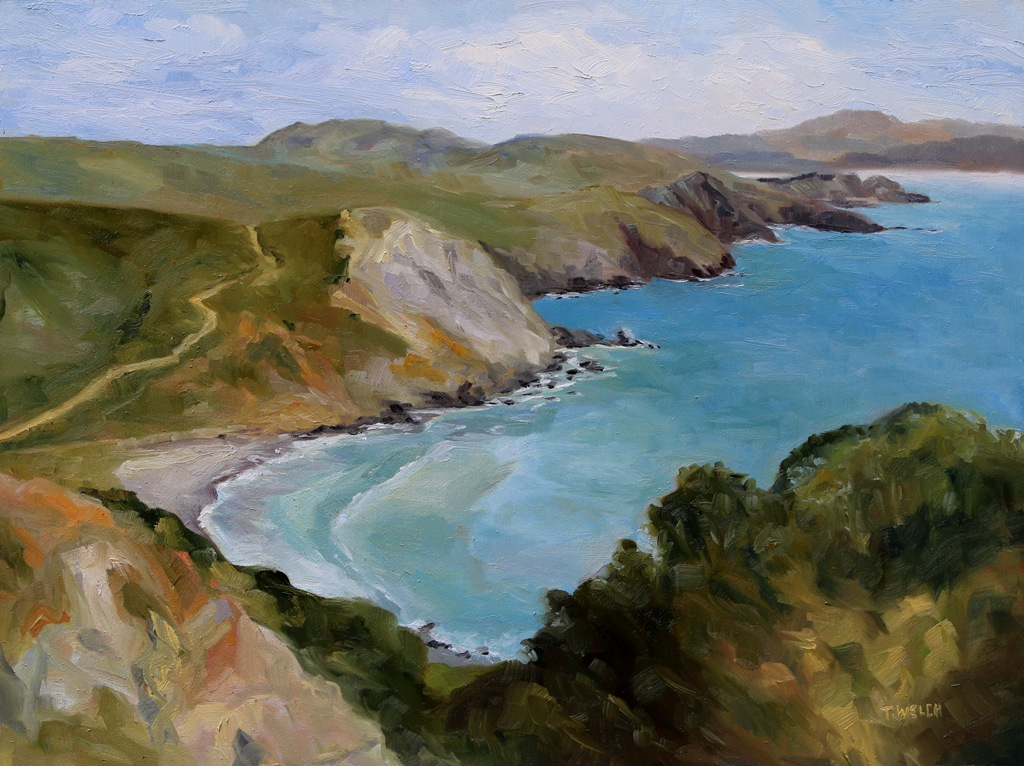 4 Muir Beach Overlook California resting 18 x 24 oil on wood with cradle by Terrill Welch 2015_04_26 031