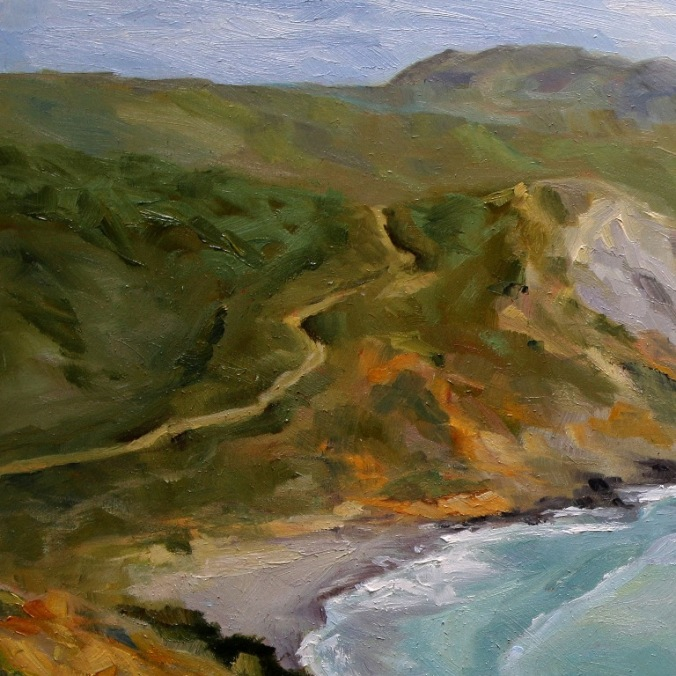 detail 1 Early Spring Muir Beach Overlook California 18 x 24 inch oil on wood with 1.5 inch cradle. by Terrill Welch 2015_04_27 057