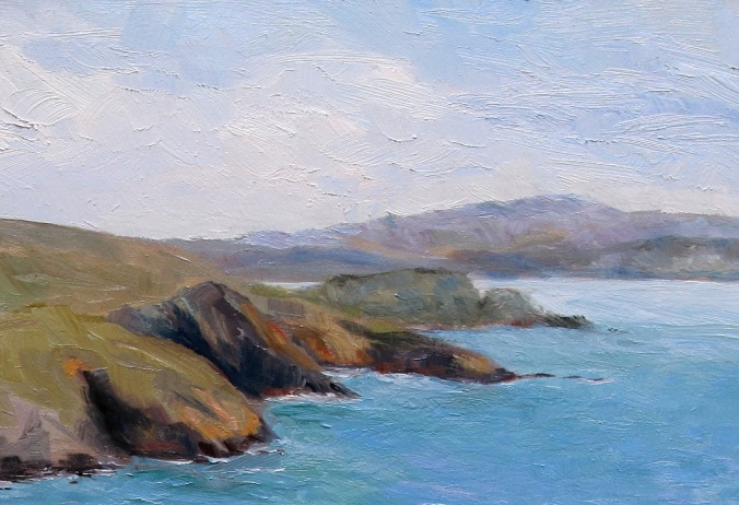 detail 2 Early Spring Muir Beach Overlook California 18 x 24 inch oil on wood with 1.5 inch cradle. by Terrill Welch 2015_04_27 057