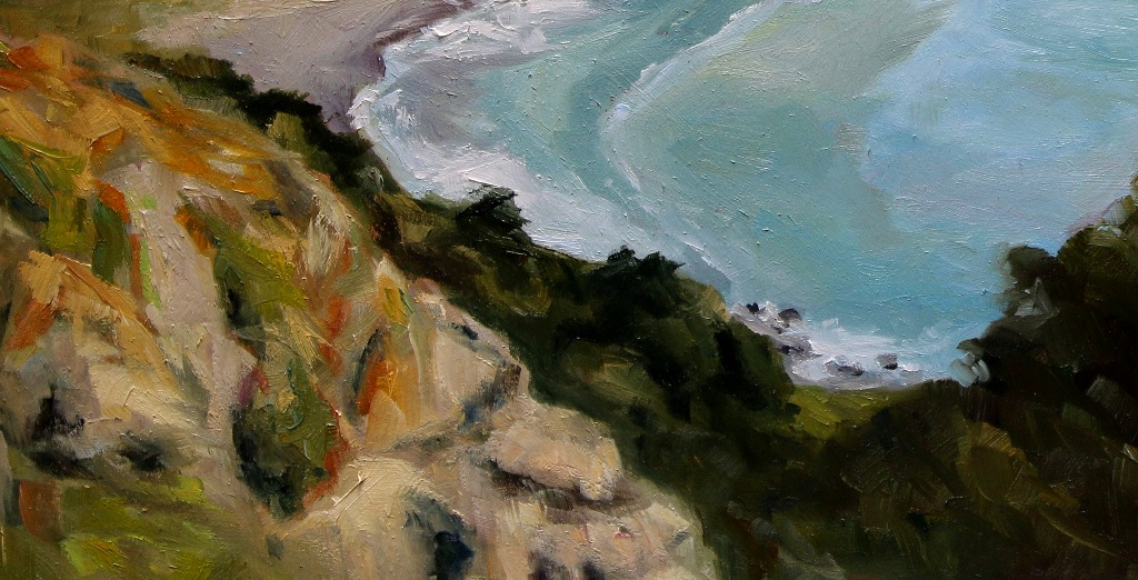 detail 3 Early Spring Muir Beach Overlook California 18 x 24 inch oil on wood with 1.5 inch cradle. by Terrill Welch 2015_04_27 057
