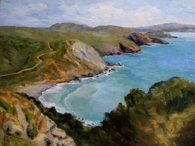 Early Spring Muir Beach Overlook California 18 x 24 inch oil on wood with 1.5 inch cradle. by Terrill Welch 2015_04_27 057