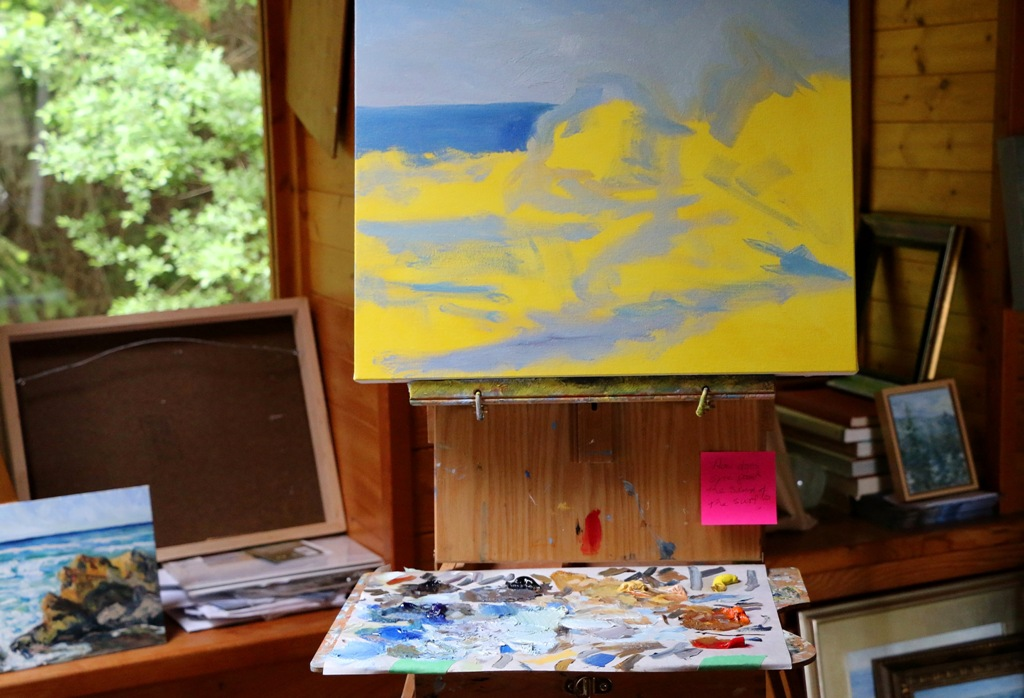 beginning the 3rd of 3 surf paintings by Terrill Welch 2015_05_12 062