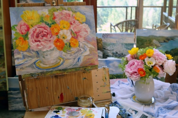Peonies and Poppies Still Life 12 x 16 acrylic painting sketch just completed  in the studio by Terrill Welch 2015_06_07 305