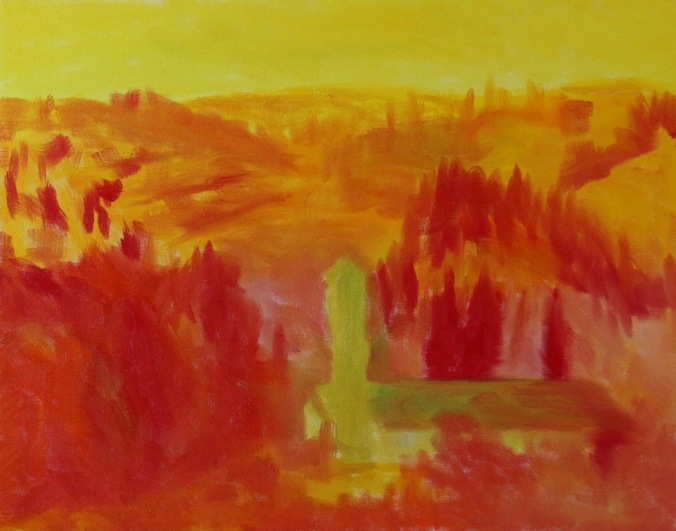 Bell Towers of Florence Countryside 16 x 20 inch walnut oil on canvas in progress 1 by Terrill Welch 2015_07_30 002