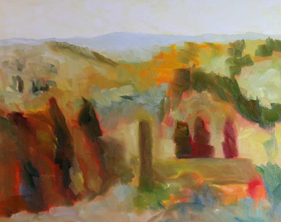 Bell Towers of Florence Countryside 16 x 20 inch walnut oil on canvas in progress 3 by Terrill Welch 2015_07_30 011