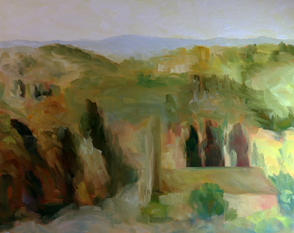 Bell Towers of Florence Countryside 16 x 20 inch walnut oil on canvas in progress 4 by Terrill Welch 2015_07_30 014