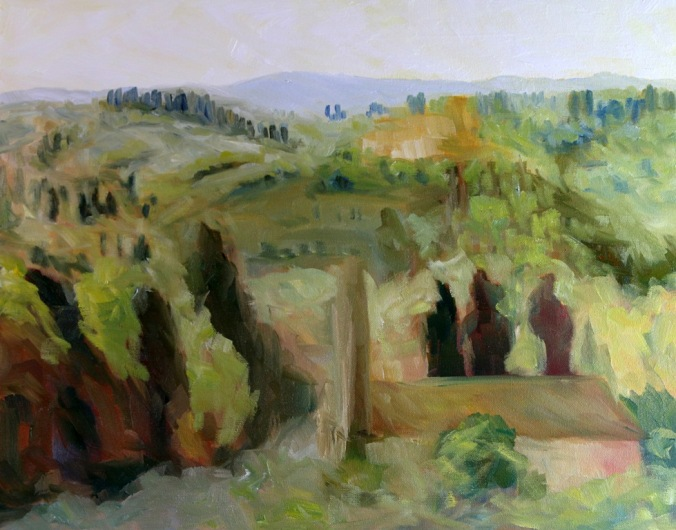 Bell Towers of Florence Countryside 16 x 20 inch walnut oil on canvas in progress 5 by Terrill Welch 2015_07_31 001