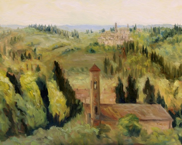 Bell Towers of Florence Countryside 16 x 20 inch walnut oil on canvas in progress 6 by Terrill Welch 2015_07_31 008