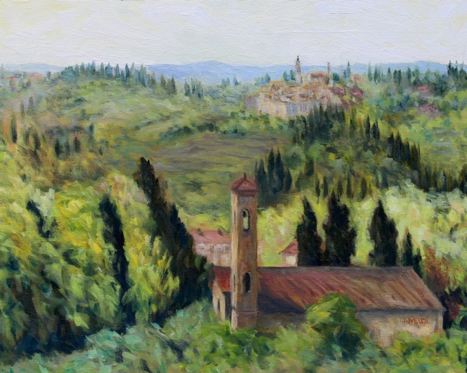 Bell Towers of Florence Countryside 7 resting 16 x 20 inch walnut oil on canvas 8 still resting by Terrill Welch 2015_08_02 002