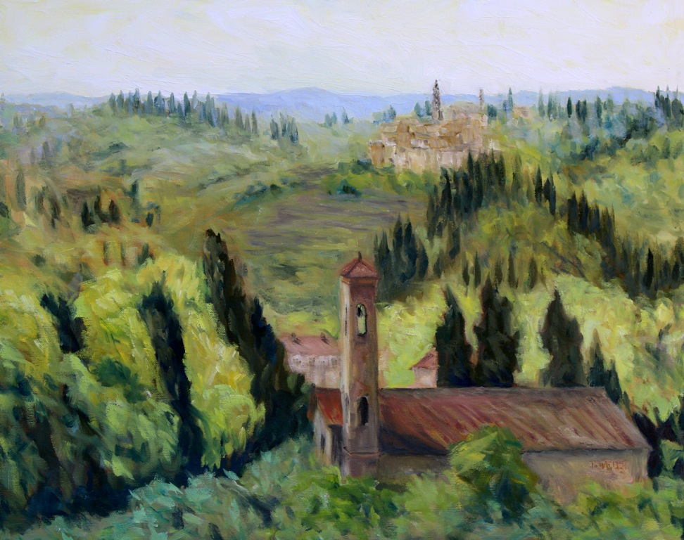 Bell Towers of Florence Countryside 7 resting 16 x 20 inch walnut oil on canvas by Terrill Welch 2015_08_01 070