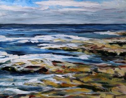 Salish Sea late August morning 11 x 14 inch acrylic plein air sketch on gessobord by Terrill Welch 2015_08_20 092