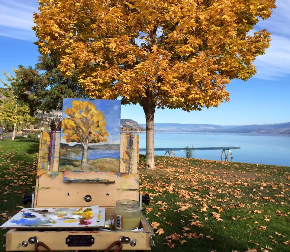 Plein Air painting in Peachland British Columbia by Terrill Welch October 24 2015