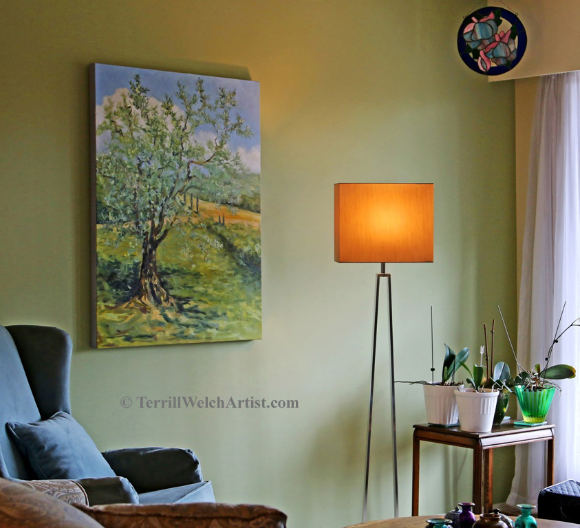 The Olive Tree 40 x 30 inch oil on canvas in its new home by Terrill Welch 2015_10_07 010