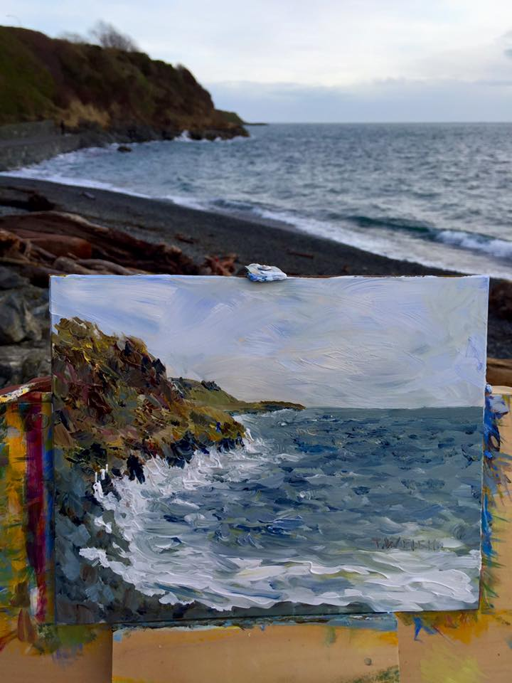 iphone capture plein air painting Victoria BC by Terrill Welch 2016-01-13