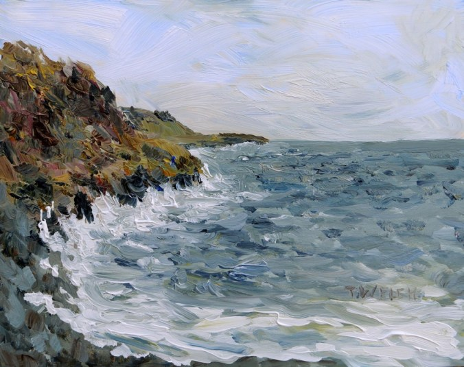 Westerly Winds coming Ashore on the Sea 8 x 10 inch acrylic plein air sketch on panel board by Terrill Welch 206-01-13 IMG_7543