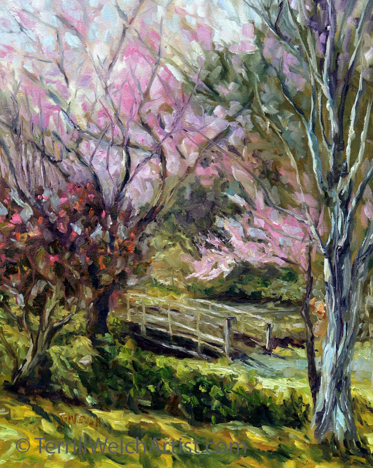 10. Plum Blossoms Japanese Garden resting 20 x 16 inch oil on canvas by Terrill Welch 2016-03-06