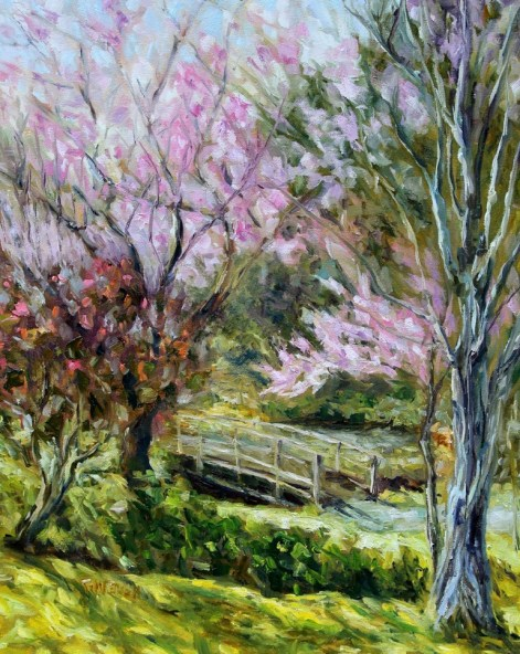 11. Plum Blossoms Japanese Garden 20 x 16 inch oil on canvas by Terrill Welch 2016-03-09 IMG_9315
