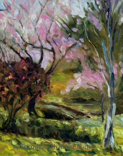 9. Plums Blossoms Japanese Garden work in progress 20 x 16 inch oil on canvas by Terrill Welch 2016-03-06 IMG_9240