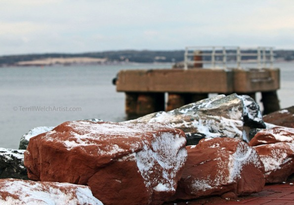 conte red sandstone lines harbour Charlottetown PEI by Terrill Welch IMG_3109