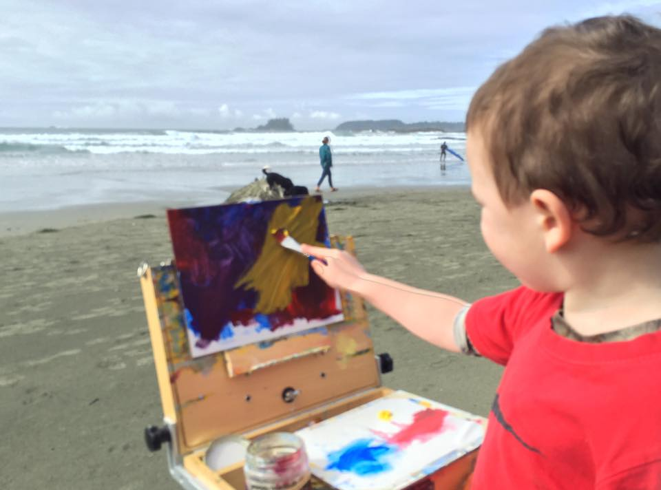 Eldest O boy at five years old painting on Chesterman Beach iPhone capture by Terrill Welch